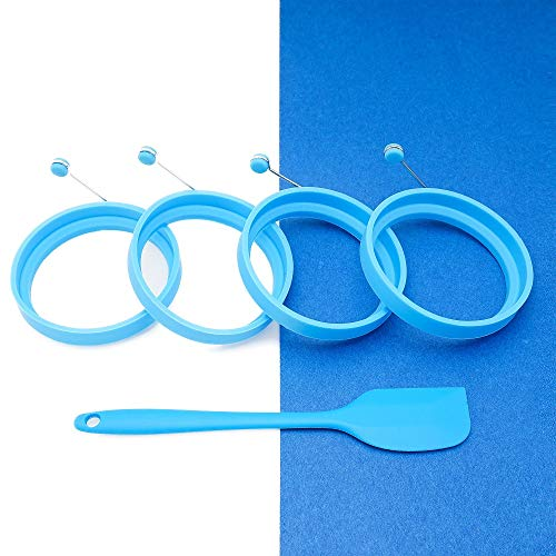 Premium Silicone Egg Ring,Pancake Mold,Non Stick Frying Pancake Moulds Silicone Cooking Rings Round with Handle Pack of 4 (blue),Includes FREE Spatula