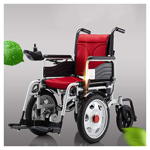 (BLAKQ Electric Wheelchair - Electric Wheelchair Folding Collapsible Front-Drive Elderly Disabled Four-Wheeled Scooter (Color : Red))