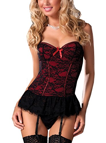 Hot Waist Cincher Sexy Overbust Corset Bustier with Garter & G-string Lace Edge (X-Large, Red)