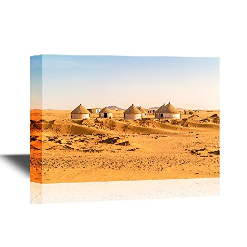 Village Nubian (wall26 - Watercolor Style Canvas Wall Art - Nubian Village on The Way from Dongola to Khartoum in Sahara Desert - Gallery Wrap Modern Home Decor | Ready to Hang - 32x48 inches)