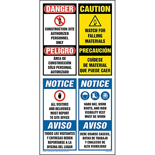 "Site Board Construction Sign Bilingual - J. J. Keller & Associates - 22.5"" x 46"" Permanent Self Adhesive Vinyl Sign with Rounded Corners - Complies with OSHA 29 CFR 1910.145 and 1926.200"
