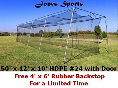 Batting Cage Net & Frame 10' H x 12' W x 50' L #24 42ply Netting w/ Door Baseball by Jones Sports