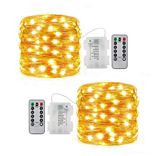 Fairy Lights Battery Operated Christmas String Lights Remote Control Timer Twinkle String Lights 8 Modes 16.4 Feet Copper Wire Firefly Lights - 2 Set White (Warm White)