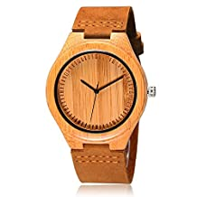CUCOL Natural Bamboo Wooden Watches for Men Groomsman Cowhide Leather Strap with Gift Box