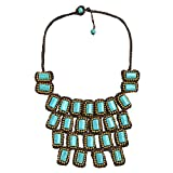 AeraVida Mosaic Droplets Simulated Turquoise Statement Brass Collar Necklace