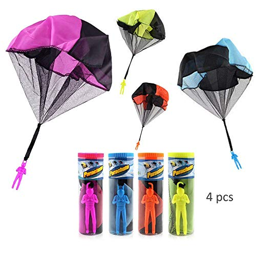 HanYoer 4 Pcs Parachute Toy Tangle Free Parachutes Men Hand Throwing Soldier Toys Outdoor Children's Flying Toys ()