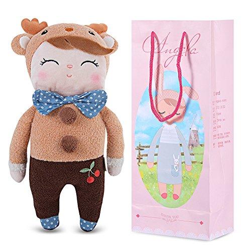 MeToo Sweet Cartoon Animal Design Stuffed Babies Plush Toy Doll for Kids Birthday 12 Inches (Brown Deer Girl)