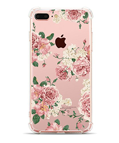 iphone 8 Plus Case for Teen Girls, iPhone 7 Plus Clear Case, Hepix Floral Print Soft Flexible TPU Watercolor Flowers Transparent Back Cover [5.5 inch]