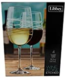Libbey Wine & Dine Party Glasses, Etched Design, 18.5 Ounce, (Pack of 4)
