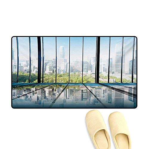 (Door Mats,Sunny Clear Sky Office Skyscrapers in Urban Metropolitan City Scenery,Bath Mat Non Slip,White Black and Green,32