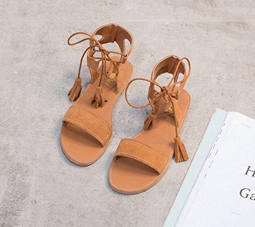 Tå Utsatt Størrelse Damene Skinn 38 Drømme Sko Sandaler Elegant Flate Sommer farge Retro Brun Student Matt Romerske Tykk xxCwqFO4
