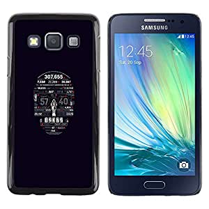 KLONGSHOP // Cubierta de piel con cierre a presión Shell trasero duro de goma Protección Caso - Tipografía cráneo - Samsung Galaxy A3 //