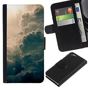 KLONGSHOP // Tirón de la caja Cartera de cuero con ranuras para tarjetas - Sun Summer imponente Dios Nubes - Apple Iphone 6 //