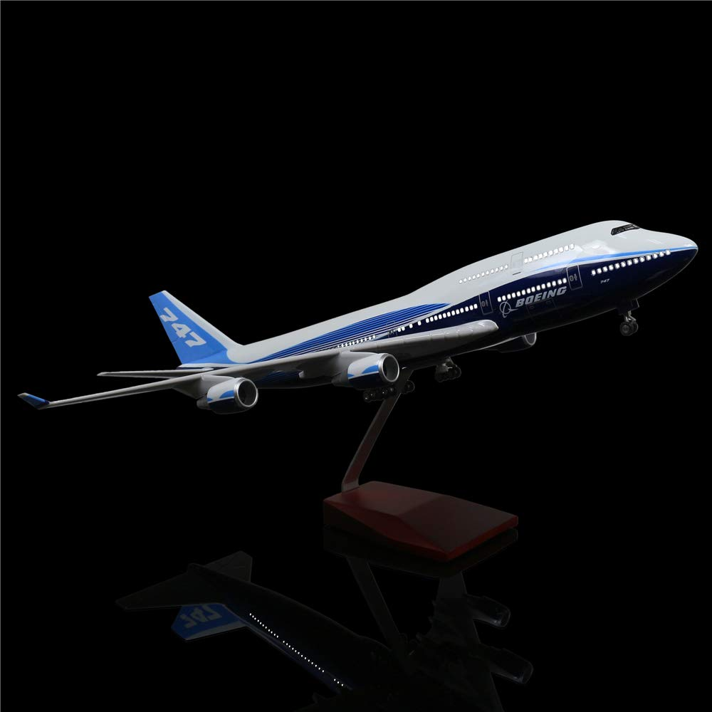 LESES 1:130 Scale LED Light Model Airplane Boeing 747 18 inches Resin Display Plane Model