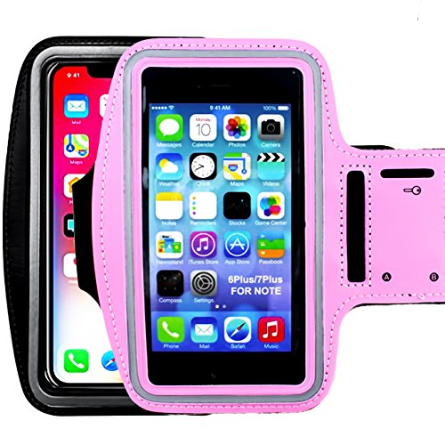 [2pack]Water Resistant Sports Armband,iEugen Universal up to 5.5 Inch with Key Holder for iPhone X,8 Plus, 7 Plus, 6 Plus, 6S Plus, Galaxy S9/S8/S6/S5, S9 Plus, S8 Plus, Note 4-black+pink ()