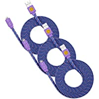 Flat Braided Lightning Cables, 3 Pack of 6FT Nylon Fabric Lightning Cables, Sync and Charge Lightning to USB Cable Cord for iPhone 7 Plus, iPhone 7, iPhone 6S other Lightning Devices (Purple)