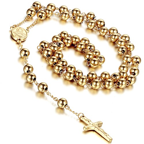 Flongo Womens Men's Stainless Steel 8mm Beads Gold Jesus Christ Crucifix Cross Rosary Pendant Necklace, 37 inch ¡­