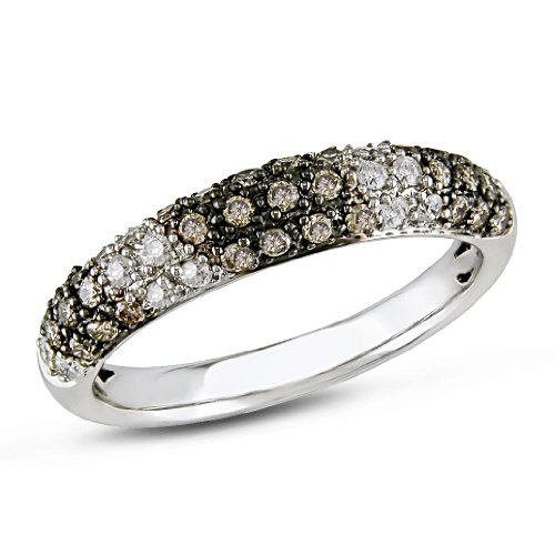 10K White Gold, Brown and Black Diamond Ring, (.5 cttw, HI Color, I1-I2 Clarity), Size 6
