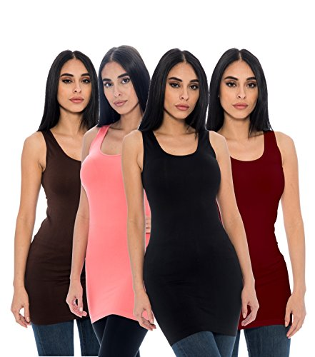 Unique Styles Seamless Long Tank Top Stretch Camisole Layering Top Regular Plus Size Pack Of 4 (One Size, Black, Brown, Burgundy, - Burgundy With Brown