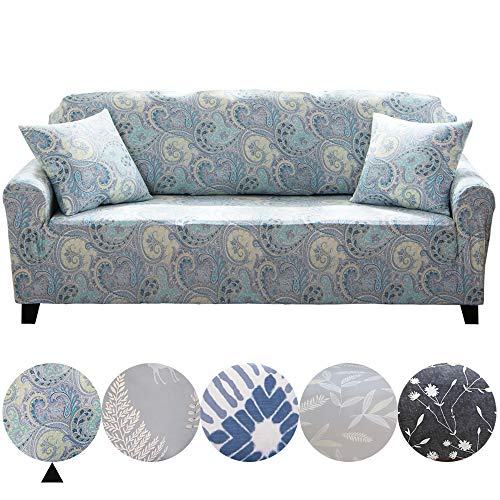 - Dotteen Super Soft Stretch Sofa Cover Plush Couch Cover Sofa Slipcover for Loveseat, Furniture Protector with Two Match Pillow Cases (Paisley, Mauve, Loveseat)