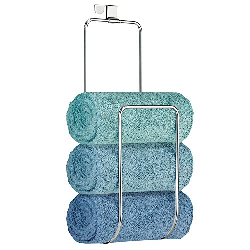 mDesign Over the Door Towel Holder for Bathroom Shower Door - Chrome