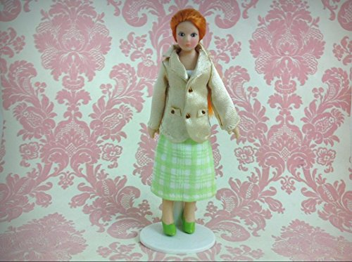 Dollhouse Miniature Porcelain Ponytail Lady Poseable Ceramic Doll1:12 w/Stand - My Mini Fairy Garden Dollhouse Accessories for Outdoor or House Decor