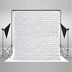 5x7ft White Brick Wall Photo Background Wedding Photography Background Cloth Seamless Without Wrinkles