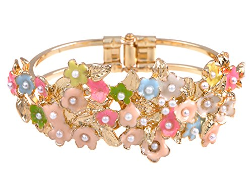 Daisy Bangle - Alilang Faux Pearl Crystal Rhinestone Pastel Enamel Floral Flower Bridal Easter Bangle Cuff Bracelet