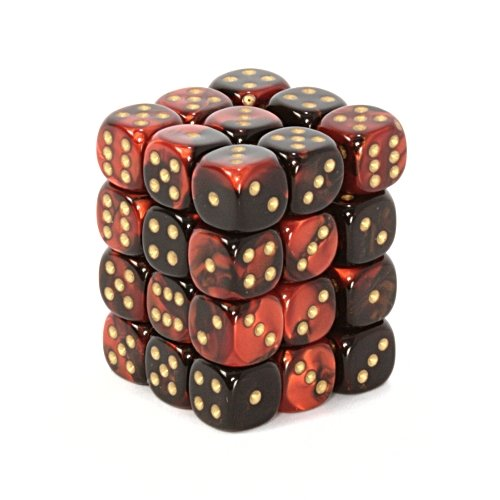 Chessex Gemini Opaque 12mm d6 Black-red with gold Dice Block