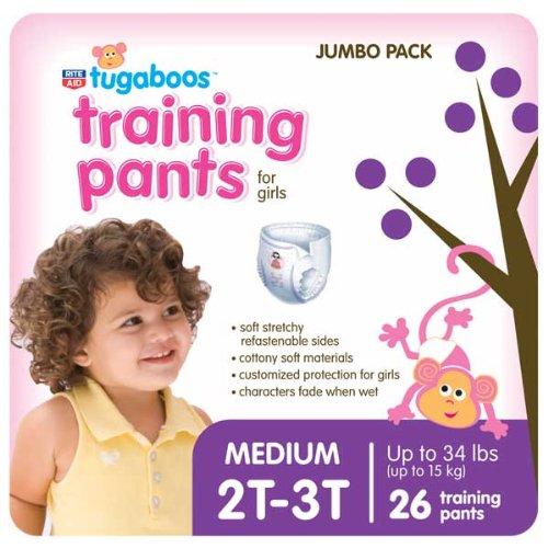 Rite Aid Tugaboos Training Pants for Girls, Jumbo Pack, M/2T-3T, up to 24 lbs+, 26 ea by Rite Aid Corporation