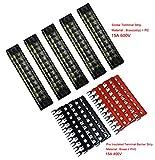 5 Pcs Dual Row 10 Position Screw Terminal Strip 600V 15A + 400V 15A 10 Postions Pre Insulated Terminal Barrier Strip Red /Black 10 Pcs