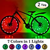HOOMIL (2-Tire Pack) Waterproof LEDs Bike Wheel Lights 7 Colors Changeable Ultra Bright Colorful Bicycle Wheel Tire Spoke Light String Strip for Toddlers Kids Adults Bike Accessory