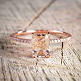 BOOBODA Rose Gold Engagement Rings Exquisite Micro-Set Square Zircon Rings My Perfect Gift(Rose Gold,9#)