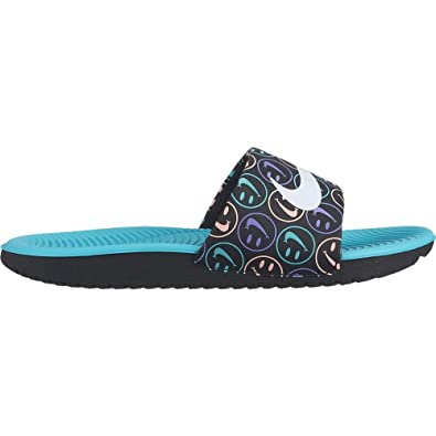768eea210e Amazon.com | Nike Boy's Kawa Slide Printed Sandal Black/White/Space Purple/Hyper  Jade Size 3 M US | Sandals