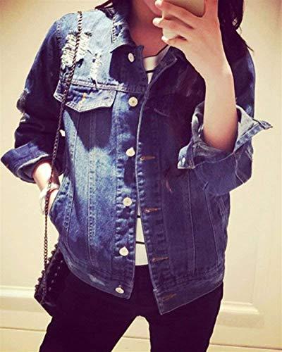 Cappotto Maniche Jeans Sciolto Giacca Ragazze Eleganti Donna Tendenza Primaverile Casual Giovane Streetwear Stile Als Autunno Strappato Lunghe Outwear Moda Grazioso Bild Blu vYbf7gym6I