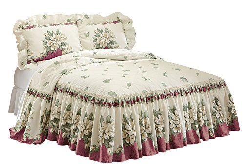 Collections Etc Magnolia Garden Floral Ruffle Skirt Lightweight Bedspread, Burgundy, King Burgundy Magnolia