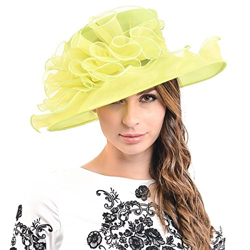[Ladies Kentucky Derby Church Dress Wedding Party Hat (Large Flower-Green fruit)] (Fruit Hat Lady)
