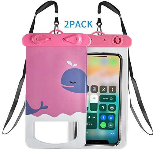 "Newseego Universal Waterproof Case Cute Waterproof Phone Pouch Dry Bag Compatible iPhone X, 8/7/7 Plus/6S/6/6S Plus, Samsung S9/S8 Plus/Note 8, Google Pixel 2 Moto up to 6""(2-Pack-Pink Fish For Sale"