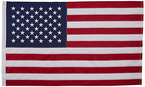 AES 8x12 Foot Embroidered Sewn U.S. USA American 50 Star Nylon Flag 8'x12' grommets House Banner Grommets Double Stitched Metal Eyelets For Hoisting Fade Resistant Premium Quality