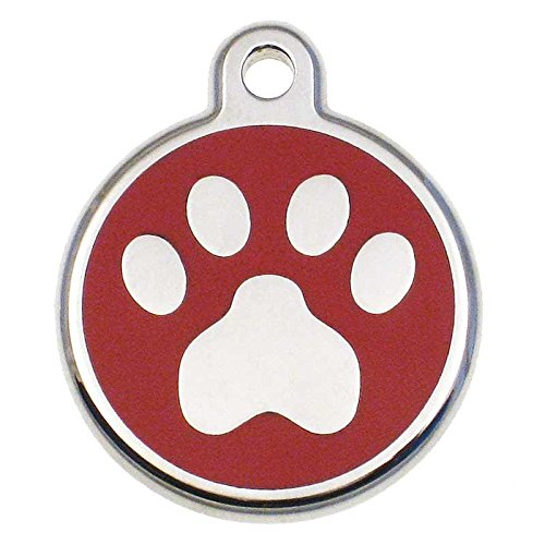 LuckyPet Pet ID Tag - Stainless Steel Paw Print Jewelry Tag - Custom Engraved Dog & Cat Tags - Size: Large, Color: Red