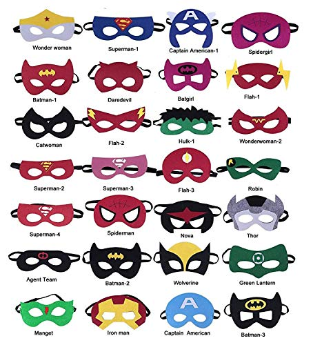 28-Pack Superhero Masks Party Favors For Kids and Adults Superhero Birthday Party for Children Aged 3+ -UPGRADE OKK -