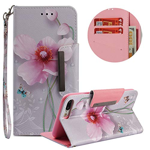 Wallet Leather Case for iPhone 7 Plus/8 Plus,Moiky Stylish Pearl Flower Embossed Painting Shock Absorbing Scratch Resistant Magnetic Clasp Stand Card Slots Phone Case for iPhone 7 Plus/8 Plus ()