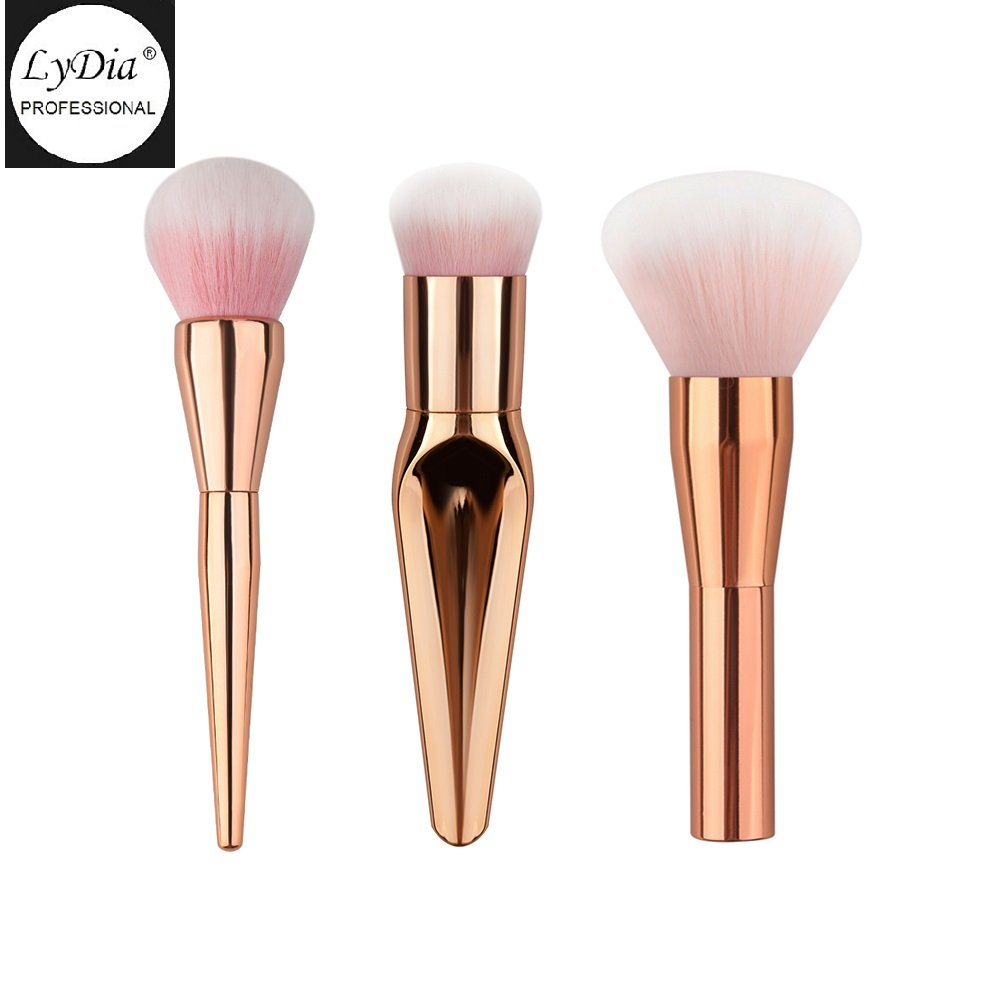 LyDia® 3pcs LARGE ROSE-GOLD Kabuki Powder Foundation Blusher Dust Contour Setting Makeup Brush LyDia Beauty