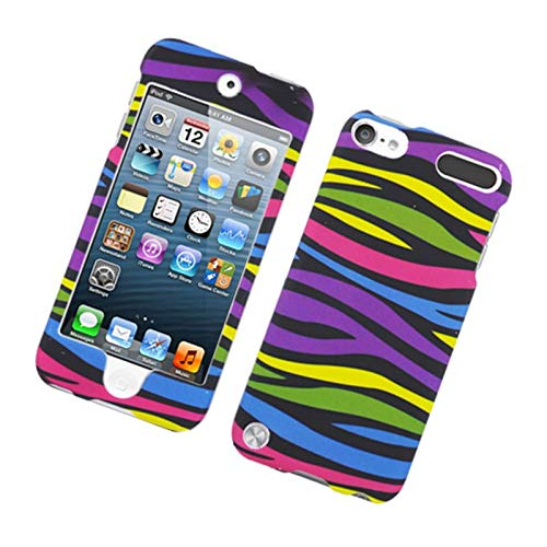 Insten Zebra Rubberized Hard Snap-in Case Cover Compatible with Apple iPod Touch 5th Gen, Colorful