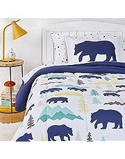 AmazonBasics Kids Easy-Wash Microfiber Bed-in-a-Bag Bedding Set - Twin, Bear Buddies