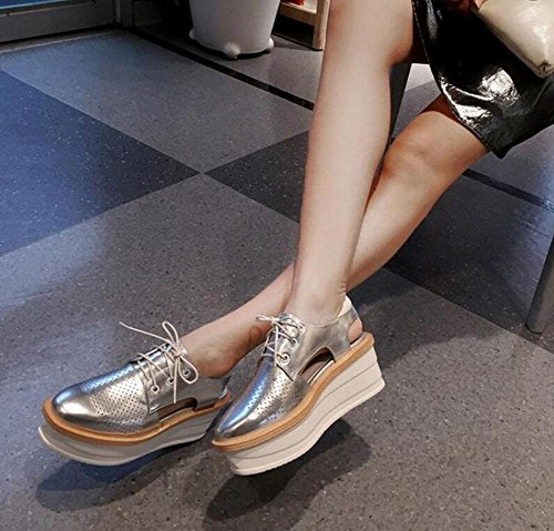 Fashion Casual Women Lace Platform Thick Heels Leather Silver American Flats Shoes Sandals High Silver Shoes And Red Bottom Genuine European 08dx8qrw