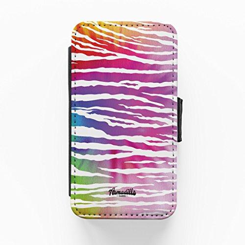 Colourful Zebra Print Hochwertige PU-Lederimitat Hülle, Schutzhülle Hardcover Flip Case für iPhone 4 / 4s vom BYMBOW + wird mit KOSTENLOSER klarer Displayschutzfolie geliefert