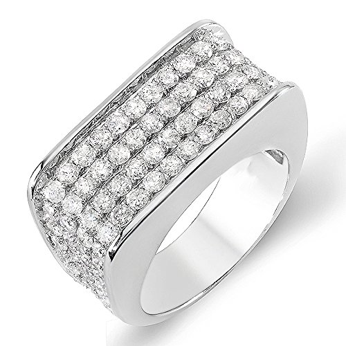 3.50 Carat (ctw) 14k White Gold Round Hip Hop Diamond Mens Ring (Size 11)
