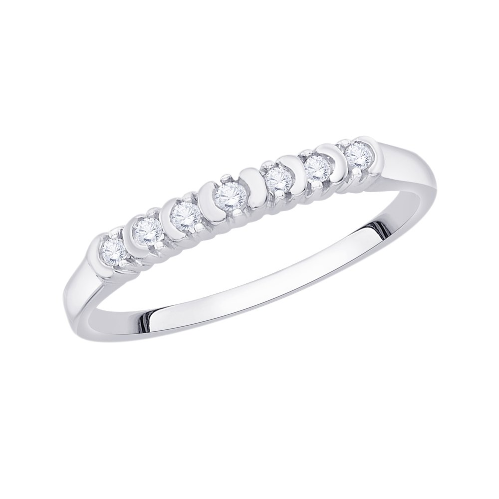G-H,I2-I3 Diamond Wedding Band in 14K White Gold Size-10.25 1//10 cttw,