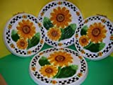 SUNFLOWER 3-D Big Ceramic Stove Burner Covers Sunflowers NEW